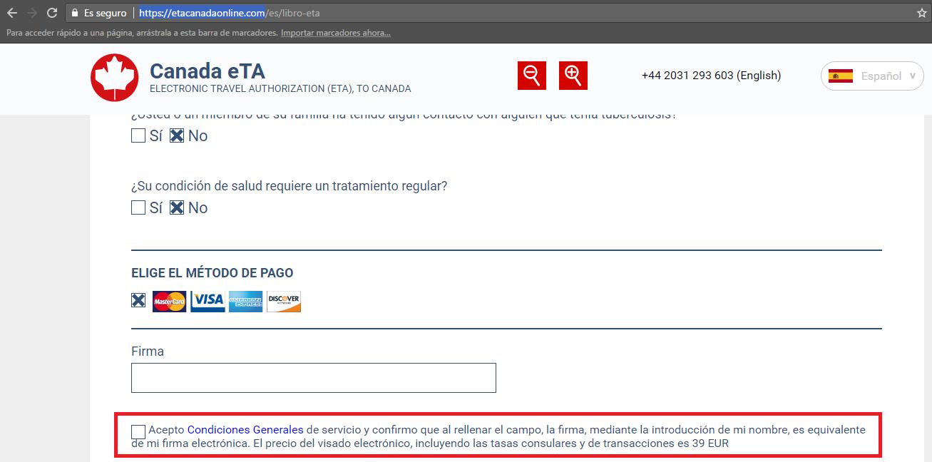 web etacanadaonline te cobran 39€, no tratimitarla en esta web - Los viajes de Margalliver